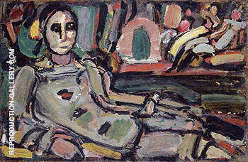 Pierrot Reclining 1932 By George Rouault