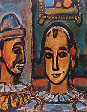 Heads of Two Clowns By George Rouault