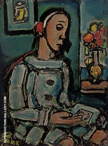 Reproduction of Le Pierrot Sage by George Rouault | Oil Painting Replica On CanvasReproduction Gallery