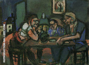 At the Hostel 1914 By George Rouault Replica Paintings on Canvas - Reproduction Gallery