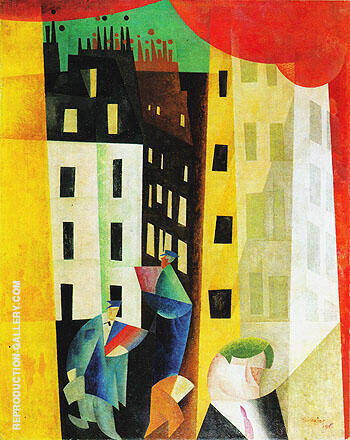 Architecture II The Man from Potin 1921 By Lyonel Feininger - Oil Paintings & Art Reproductions - Reproduction Gallery