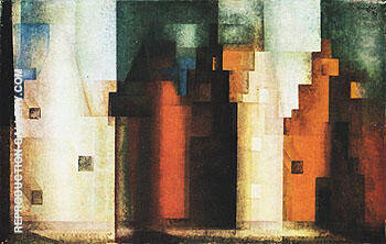 Architecture III Gables II 1927 By Lyonel Feininger - Oil Paintings & Art Reproductions - Reproduction Gallery