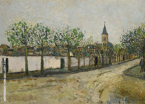 Church and Street in Montmagny 1908 By Maurice Utrillo Replica Paintings on Canvas - Reproduction Gallery
