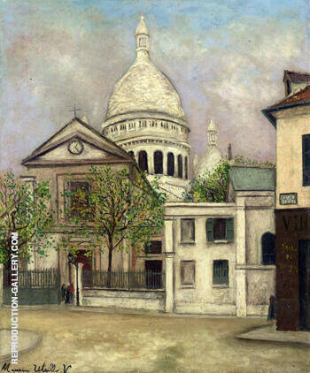 Eglise Saint Pierre and The Coupola of Sacere Coeur 1911 By Maurice Utrillo - Oil Paintings & Art Reproductions - Reproduction Gallery