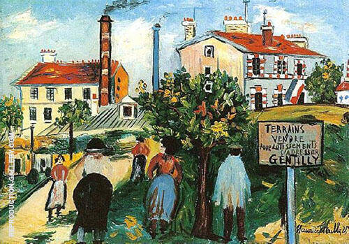 Land Sale at Gentilly Painting By Maurice Utrillo - Reproduction Gallery