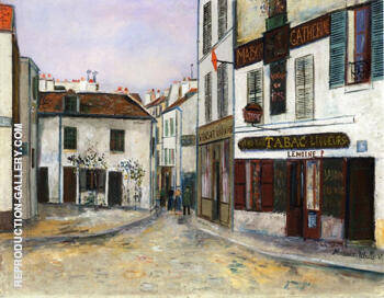 Reproduction of Mother Catherines Restaurant in Montmatre 1917 by Maurice Utrillo | Oil Painting Replica On CanvasReproduction Gallery