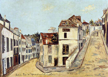 Reproduction of Pontoise Rue De I'Eperon and Rue de la Coutellerie 1914 by Maurice Utrillo | Oil Painting Replica On CanvasReproduction Gallery