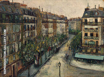 Rue Custine a Montmartre 1909 By Maurice Utrillo Replica Paintings on Canvas - Reproduction Gallery
