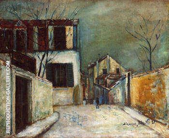 Rue Du Mont Cenis in the Snow 1917 By Maurice Utrillo