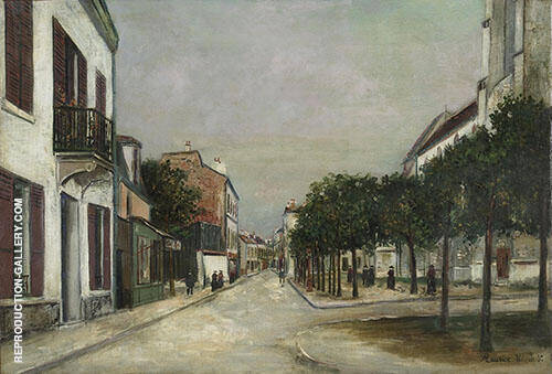 Moutier Street and the Mairie Square at Villejuif 1915 Painting By ...