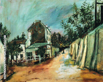 Rue Saint Vincent and the Lapin Agile 1917 By Maurice Utrillo - Oil Paintings & Art Reproductions - Reproduction Gallery