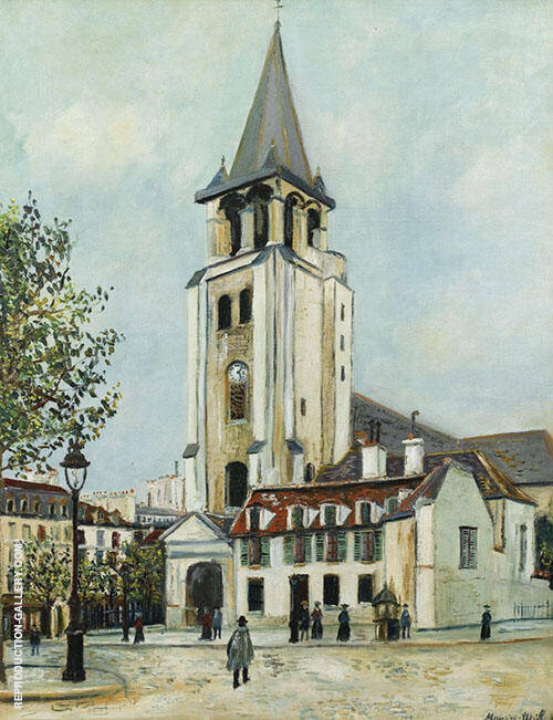 St Germain Des Pres Paris 1917 Painting By Maurice Utrillo