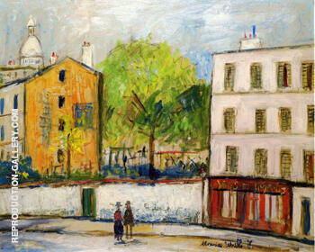 Street in Montmartre By Maurice Utrillo Replica Paintings on Canvas - Reproduction Gallery
