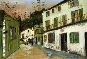 The Maison Des Italiens in Montmartre 1917 By Maurice Utrillo Replica Paintings on Canvas - Reproduction Gallery