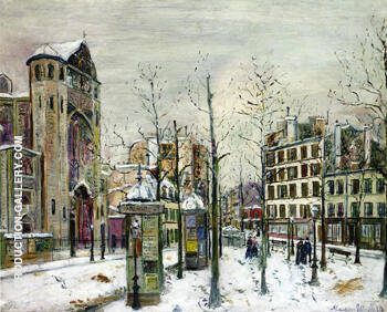 The Place Des Abbesses in the Snow 1917 By Maurice Utrillo Replica Paintings on Canvas - Reproduction Gallery