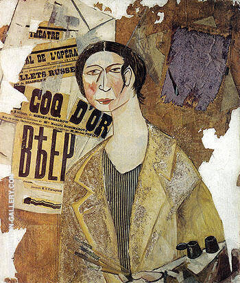 Portrait of Natalia Goncharova 1915 By Natalia Goncharova Replica Paintings on Canvas - Reproduction Gallery