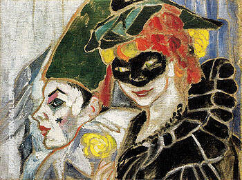 Pierrot and Colombina 1906 1906 By Natalia Goncharova - Oil Paintings & Art Reproductions - Reproduction Gallery