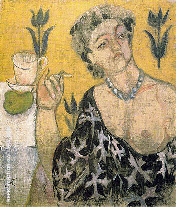 Woman with a Cigarette c1905 By Natalia Goncharova - Oil Paintings & Art Reproductions - Reproduction Gallery
