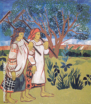 Peasant Women with Rakes 1907 By Natalia Goncharova - Oil Paintings & Art Reproductions - Reproduction Gallery