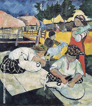 Shearing Sheep 1907 By Natalia Goncharova - Oil Paintings & Art Reproductions - Reproduction Gallery