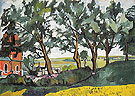 Landscape with a Red Church 1907 By Natalia Goncharova