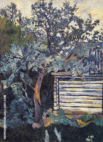 Reproduction of Trees and a Peasant Hut 1907 by Natalia Goncharova | Oil Painting Replica On CanvasReproduction Gallery