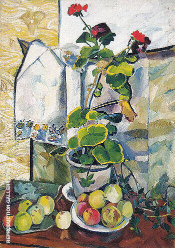 Still Life with a Geranium 1907 By Natalia Goncharova - Oil Paintings & Art Reproductions - Reproduction Gallery