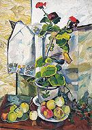 Still Life with a Geranium 1907 By Natalia Goncharova
