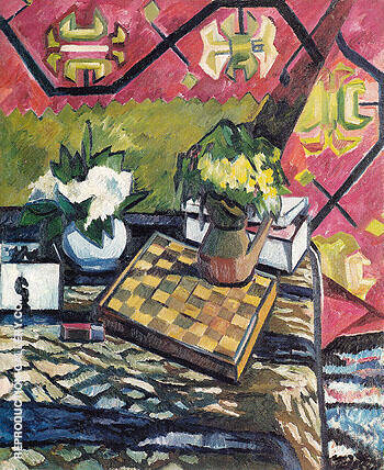 Still Life with Chessboard 1907 By Natalia Goncharova - Oil Paintings & Art Reproductions - Reproduction Gallery