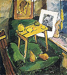 Fruits and Engraving In an Artists Studio c1907 By Natalia Goncharova
