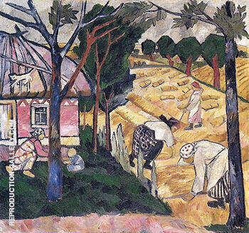 Getting in Wheat 1908 By Natalia Goncharova