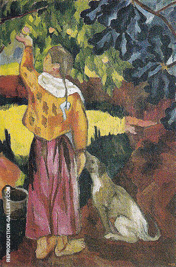 Picking Fruit Volet of a Polyptych 1908 A Painting By Natalia Goncharova