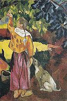Picking Fruit Volet of a Polyptych 1908 A By Natalia Goncharova