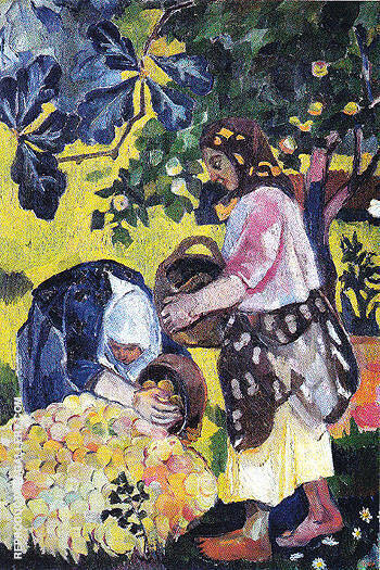 Picking Fruit Volet of a Polyptych 1908 B By Natalia Goncharova