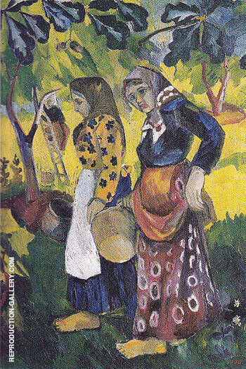 Picking Fruit Volet of a Polyptych 1908 C By Natalia Goncharova - Oil Paintings & Art Reproductions - Reproduction Gallery