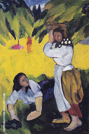 Picking Fruit Volet of a Polyptych 1908 D Painting By Natalia Goncharova