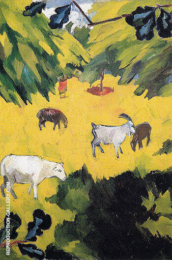 Landscape with Goats 1908 By Natalia Goncharova - Oil Paintings & Art Reproductions - Reproduction Gallery