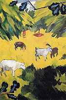Landscape with Goats 1908 By Natalia Goncharova