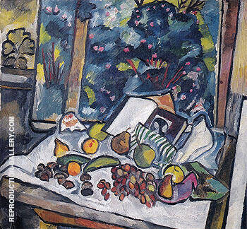Still Life with Fruits Open Book and a Pot of Flowers c1908 By Natalia Goncharova
