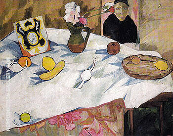 Still Life with a Portrait and a White Tablecloth c1908 By Natalia Goncharova - Oil Paintings & Art Reproductions - Reproduction Gallery