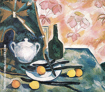 Still Life with a Green Bottle c1908 By Natalia Goncharova - Oil Paintings & Art Reproductions - Reproduction Gallery