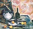 Still Life with a Green Bottle c1908 By Natalia Goncharova