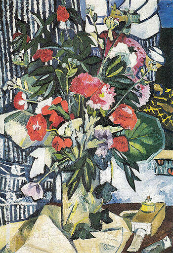 Reproduction of Bouquet and Container of Paints 1909 by Natalia Goncharova | Oil Painting Replica On CanvasReproduction Gallery