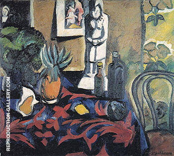 Still Life with a Pineapple c1908 By Natalia Goncharova