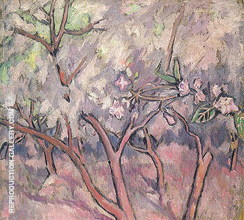 Blossoming Apple Trees c1908 Painting By Natalia Goncharova