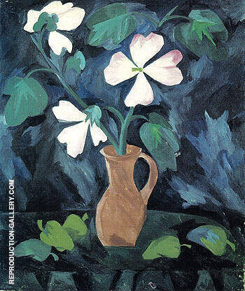 Hollyhocks 1909 By Natalia Goncharova - Oil Paintings & Art Reproductions - Reproduction Gallery