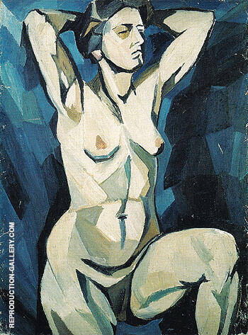 Artists Model on the Blue Background c1909 By Natalia Goncharova - Oil Paintings & Art Reproductions - Reproduction Gallery