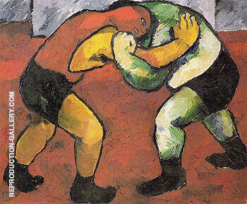 Wrestlers c1908 Painting By Natalia Goncharova - Reproduction Gallery