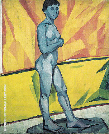 Artists Model on the Yellow Background c1909 By Natalia Goncharova - Oil Paintings & Art Reproductions - Reproduction Gallery