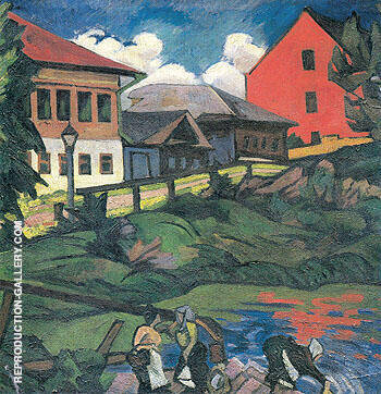 Provincial Landscape c1908 By Natalia Goncharova - Oil Paintings & Art Reproductions - Reproduction Gallery